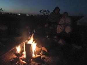 Toasting marshmallows around the campfire